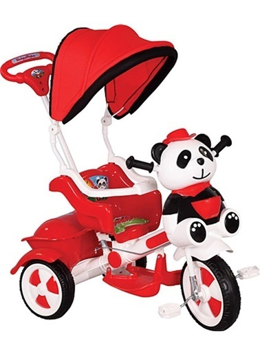 BabyHope Little Panda Şekilli Itmeli Koruma Barlı Tenteli 3 Teker Çocuk Bisiklet Renkli